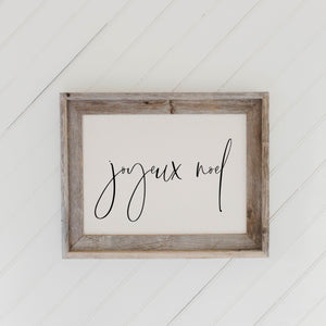 Joyeux Noel Barn Wood Framed Print