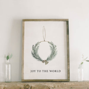 Joy to the World Wreath Watercolor Framed Wood Sign