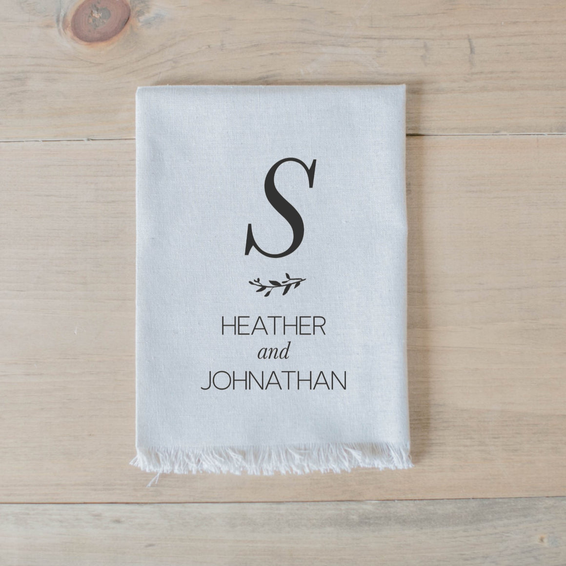 Handmade 100% linen personalized last initial and names napkin