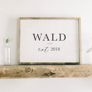 Personalized Last Name Rectangle Framed Wood Sign