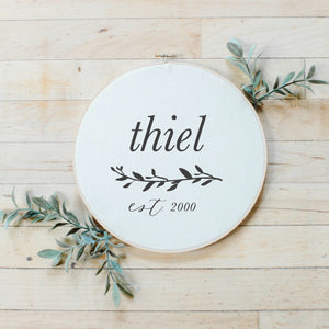 Personalized Last Name With Laurels Faux Embroidery Hoop