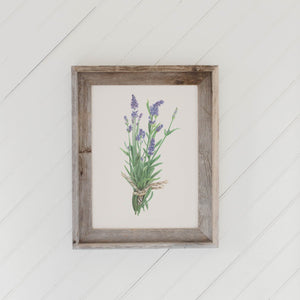 Lavender Watercolor Barn Wood Framed Print