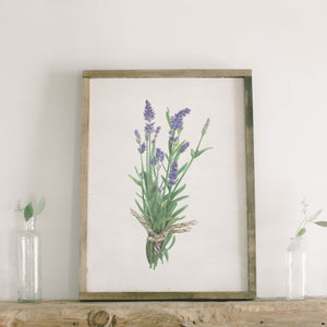 Lavender Watercolor Framed Wood Sign