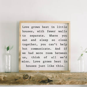 Love Grows Square Framed Wood Sign