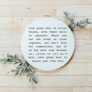 Love Grows Best Faux Embroidery Hoop