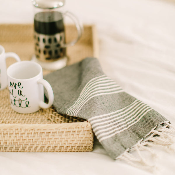 Grey Striped Tea Towel