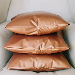 Handmade copper metallic leather throw pillow