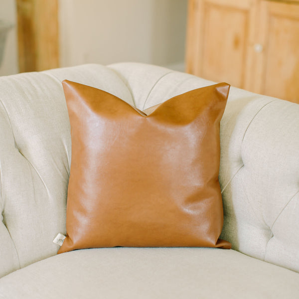 Handmade 100% faux leather accent throw pillow