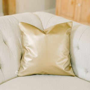 Handmade gold metallic leather throw pillow