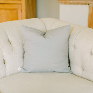 Handmade 100% linen light grey accent throw pillow