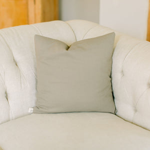 Handmade linen grey accent throw pillow