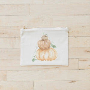 Pumpkin Stack Watercolor Cosmetic Bag