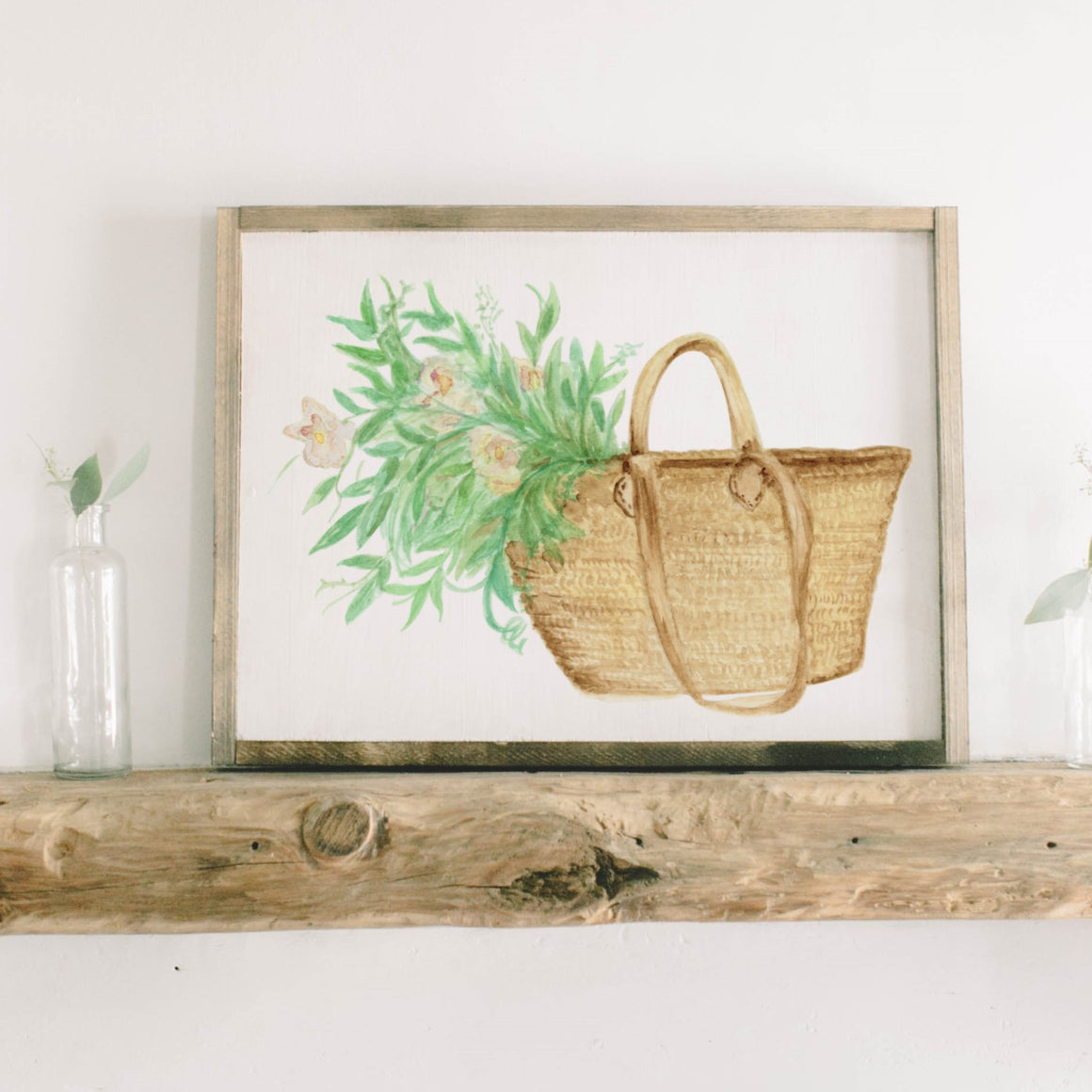 Basket Flowers Watercolor Framed Wood Sign