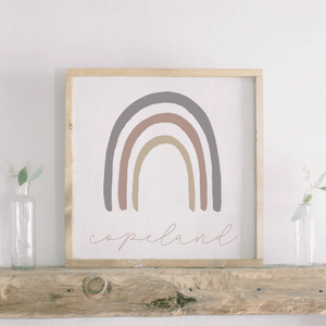Subtle Mauve Rainbow Wood Sign