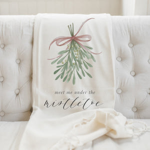 Meet Me Under The Mistletoe Throw Blanket