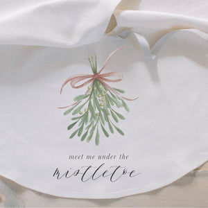 Meet Me Under the Mistletoe Watercolor Tree Skirt