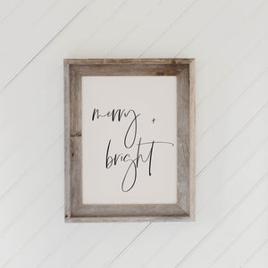 Merry and Bright Barn Wood Framed Print