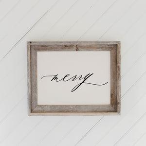 Merry Script Barn Wood Framed Print