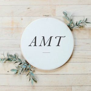 Personalized Monogram Faux Embroidery Hoop