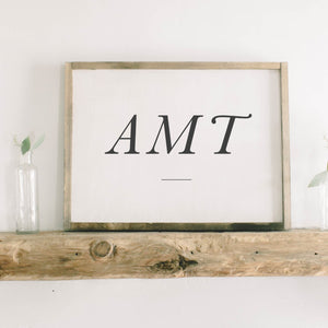 Personalized Monogram Rectangle Framed Wood Sign