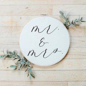 Mr. And Mrs. Faux Embroidery Hoop