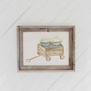Mums Watercolor Barn Wood Framed Print