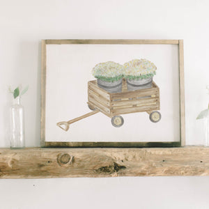 Mums Watercolor Framed Wood Sign