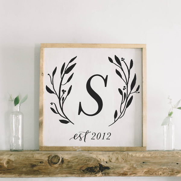 Personalized Initial and Date Square Framed Wood Sign