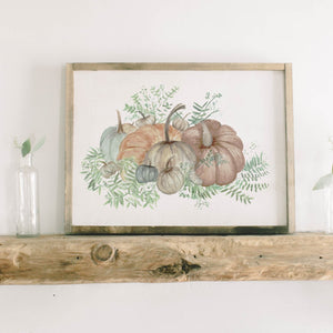 Pumpkin Bunch Framed Wood Sign