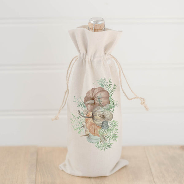 Pumpkin Bunch Watercolor Wine Bag