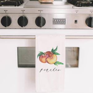 Peaches Watercolor Tea Towel