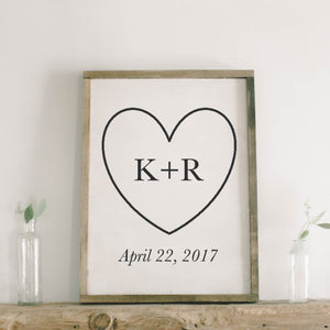 Personalized Two Initials with Heart Framed Wood Sign