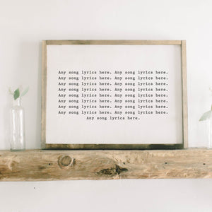 Personalized Song Lyrics Rectangle Framed Wood Sign
