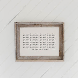Personalized Song Lyrics Barn Wood Framed Print