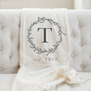 Personalized Initial with Wreath Throw Blanket