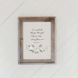 Philippians 4 Barn Wood Framed Print