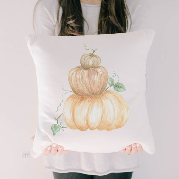 Pumpkin Stack Watercolor Pillow