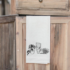 Terra Cotta Pot Sketch Tea Towel