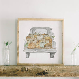 Pumpkin Truck Watercolor Framed Wood Sign