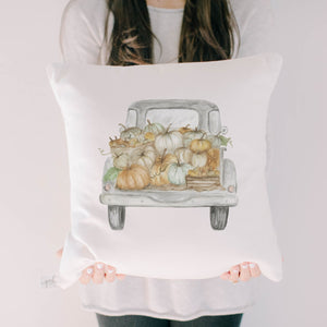 Pumpkin Truck Watercolor Pillow