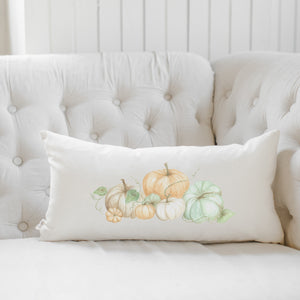 Pumpkin Bunch Watercolor Lumbar Pillow