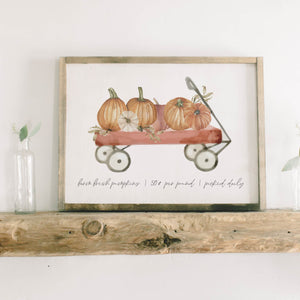 Pumpkin Wagon Watercolor Framed Wood Sign