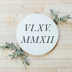Personalized Roman Numerals Faux Embroidery Hoop