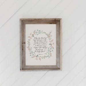 Romans 15 Barn Wood Framed Print