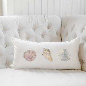 Sea Shells Watercolor Lumbar Pillow