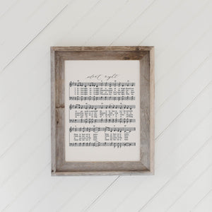Silent Night Hymn Barn Wood Framed Print