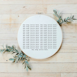 Personalized Song Lyrics Faux Embroidery Hoop