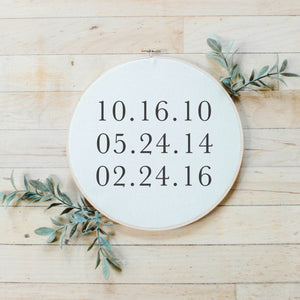 Personalized Special Dates Faux Embroidery Hoop