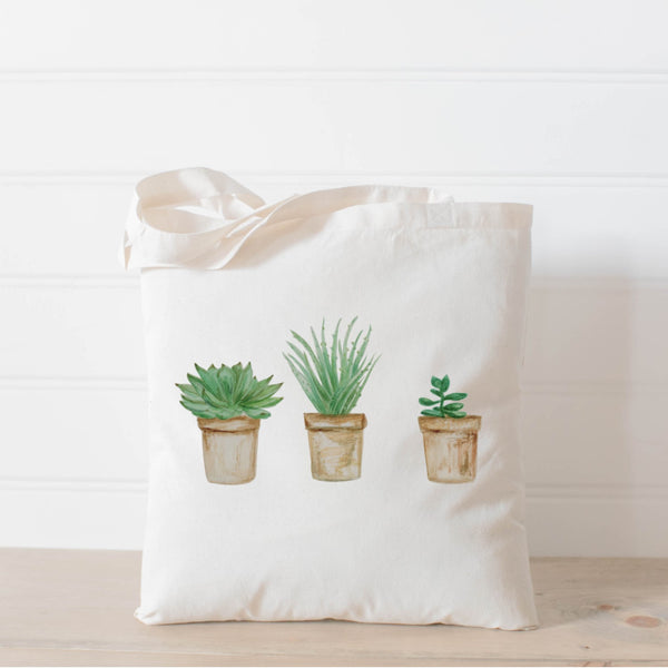 Succulent Pots Watercolor Tote Bag