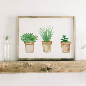 Succulent Pots Watercolor Framed Wood Sign